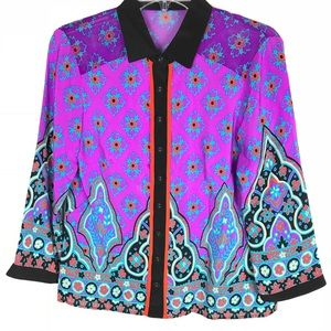 Nanette Lepore silk geometric button down blouse